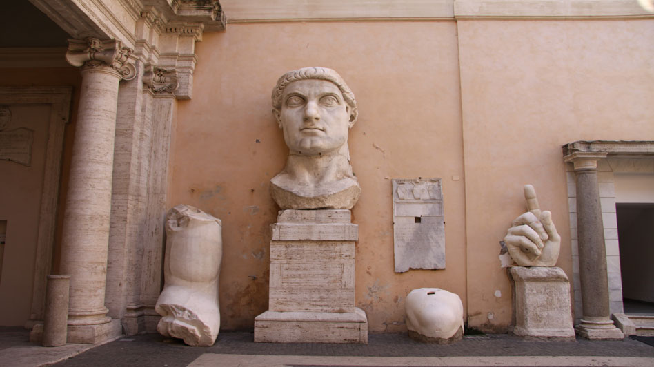 RDRD Bible Study Emperor Constantine Colossal Marble Statue Remains