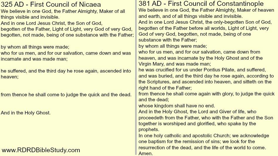 RDRD Bible Study Nicene Creed 325 And 381