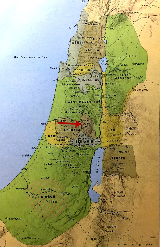RDRD Bible Study OT Map Shiloh Highlighted