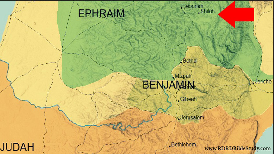 RDRD Bible Study Shiloh Israel Surrounding OT Cities Map