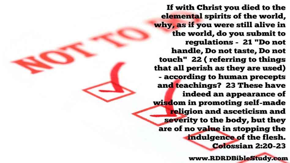 RDRD Bible Study Colossians 2 20-23