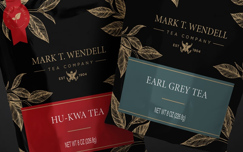 Brand refresh and packaging redesign by Jobin Design for Mark T. Wendell Tea Company