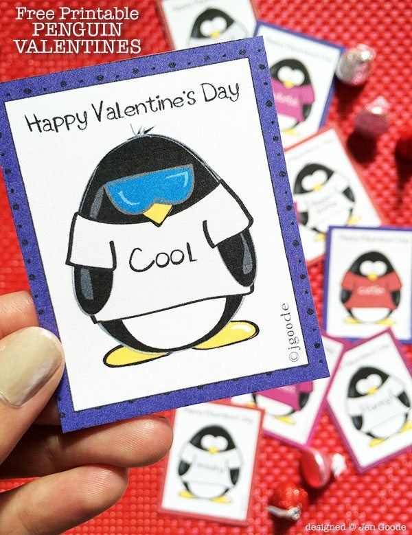 Free Printable Valentine Conversation Penguins by Jen Goode