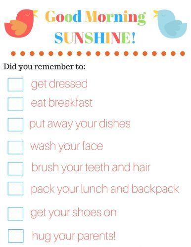A free printable checklist for kids to make school mornings a little less crazy!