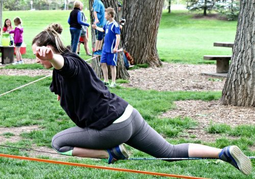 One of the pros from Slackline Industries, showing off some cool stunts!