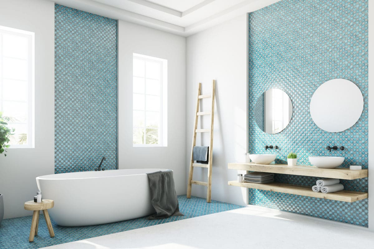 White and blue bathroom interior with a round white tub, two narrow windows, a tree in a pot and a ladder in a corner. Side view. 3d rendering mock up