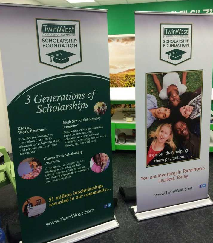trade show banner 2 twin west scholarship foundation