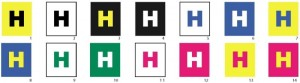 "multi colored ""H"" letters"