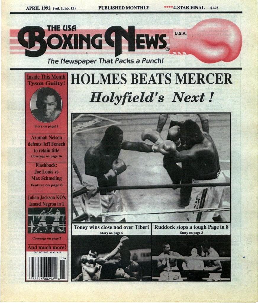 LLLLLLLLBoxing News April 1992 Cover