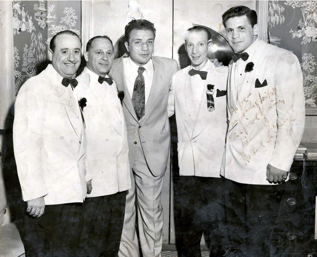 Jake La Motta (center) with Michael Strolla (second from left) and heavyweight Challenger Roland La Starza