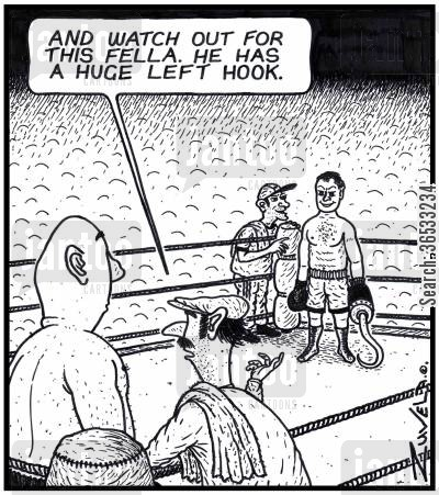 Boxing Trainer: 'And watch out for this fella. He has a huge Left Hook.'