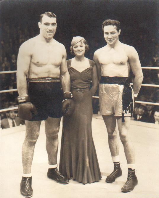 Heavyweight Champion Primo Carnera with actress Myrna Loy and top heavyweight Contender Max Baer