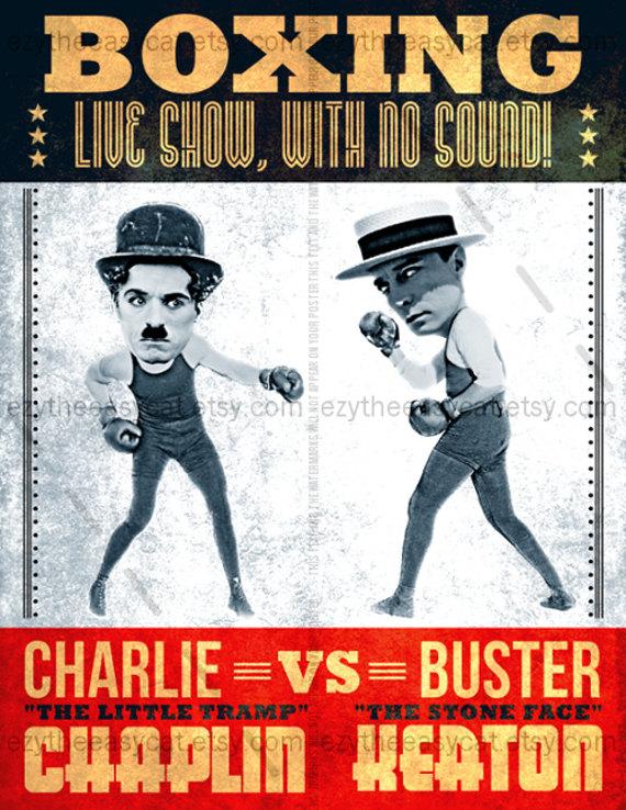 chaplin-keaton funny fight poster