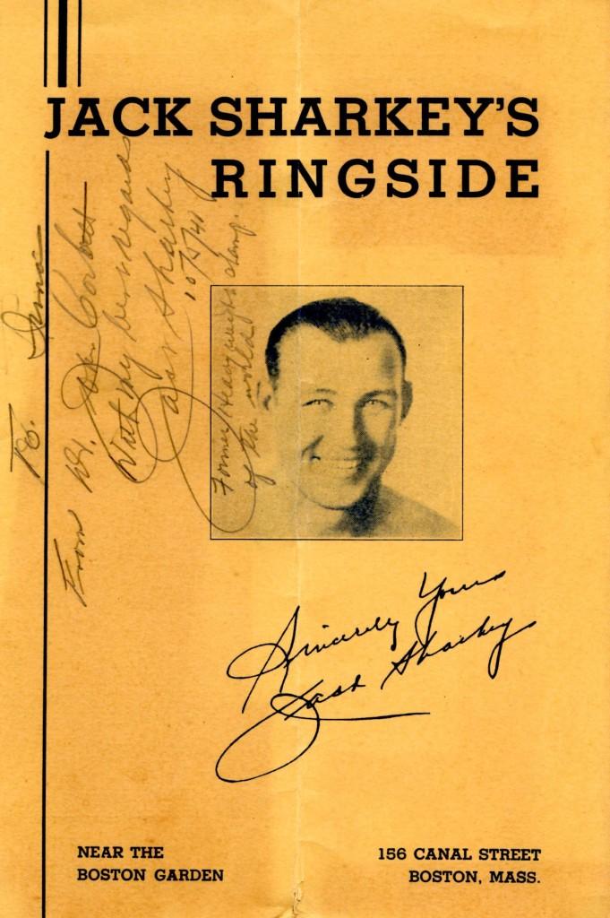 Former heavyweight Champion Jack Sharkey's restaurant Jack Sharkey's Ringside menu