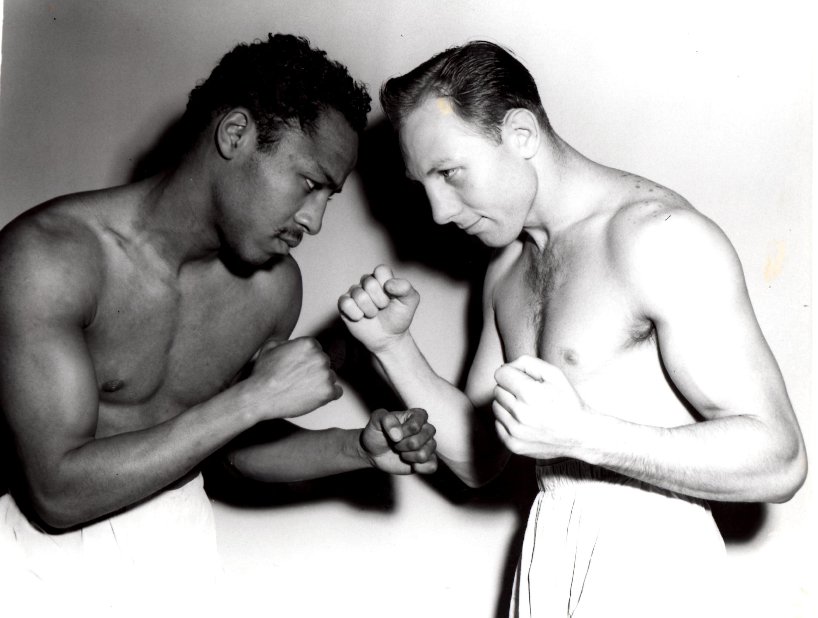 Johnny Bratton and Charley Fusari prior to their 1951 Welterweight Title fight