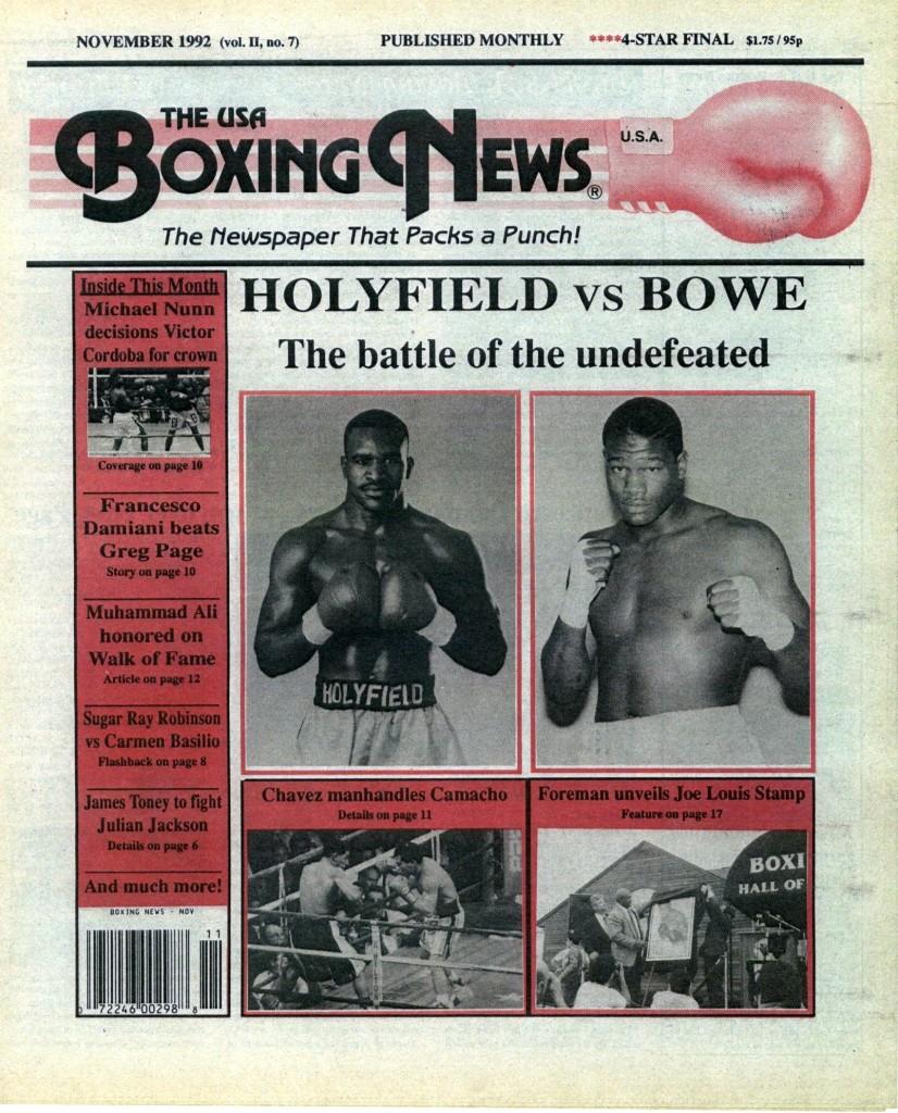 Boxing News NOvember 1992 Cover