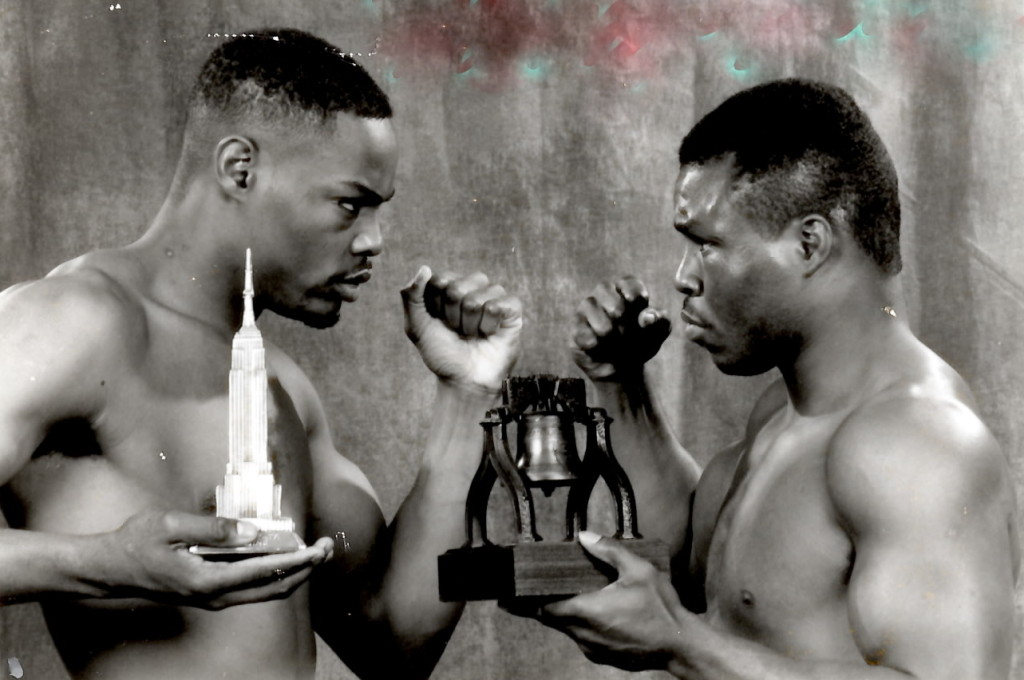 WBA Wlterweight Champion Aaron Davis (L) and Meldrick Taylor (R) before their championship bout on January 19, 1991, which Taylor won by decision