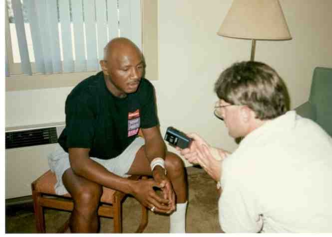 Alex Rinaldi interviewing former middleweight Champion Marvelous Marvin Hagler