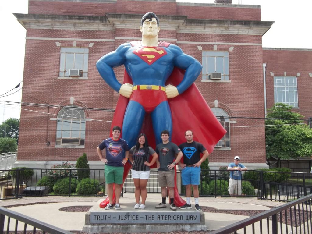FFFFFFFFFSuper Fans at the Superman Statue