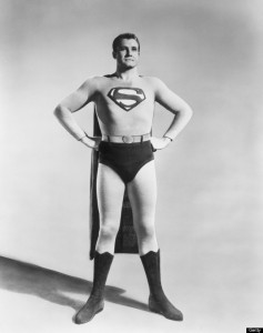 circa 1955: Full-length studio portrait of American actor George Reeves (1914 - 1959) in costume as the Man of Steel from the TV show 'Superman'. (Photo by Hulton Archive/Getty Images)
