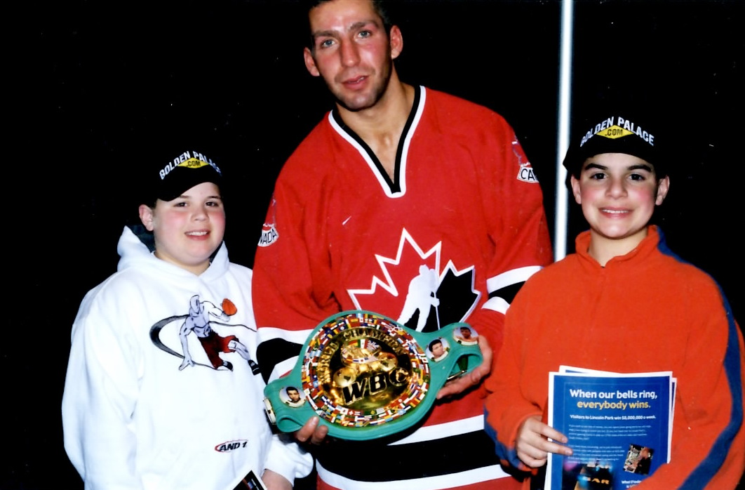 WBC Super Middleweight Champion Eric Lucas (C) with Ron John and Joseph Rinaldi after Lucas defeated Vinny Pazienza by decision at the Foxwoods Arena in Connecticut on March 1, 2001 * (PHOTO BY ALEX RINALDI)