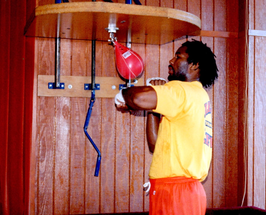 Heavyweight Champion Lennox Lewis in training for his bout with Tommy Morrison *