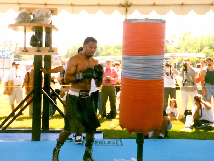 Champion Sugar Shane Mosley training at Boxing hall ofFame