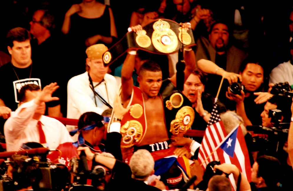 Felix Trinidad after defeating William Joppy * (PHOTO BY ALEX RINALDI)