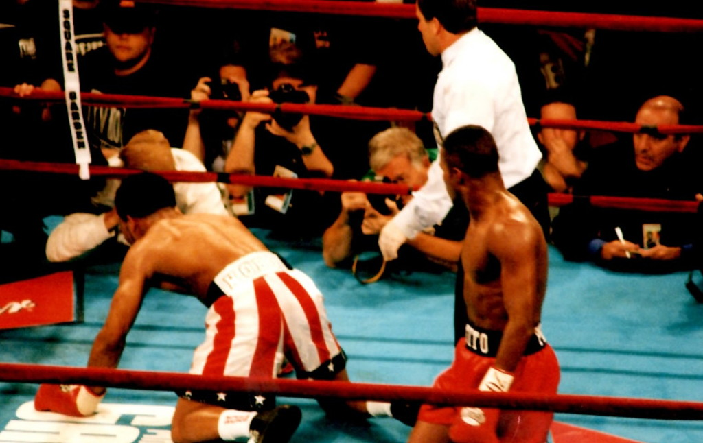 Felix Trinidad drops william Joppy in their Middleweight Unification bout in Madsion Square Garden* (PHOTO BY ALEX RINALDI)
