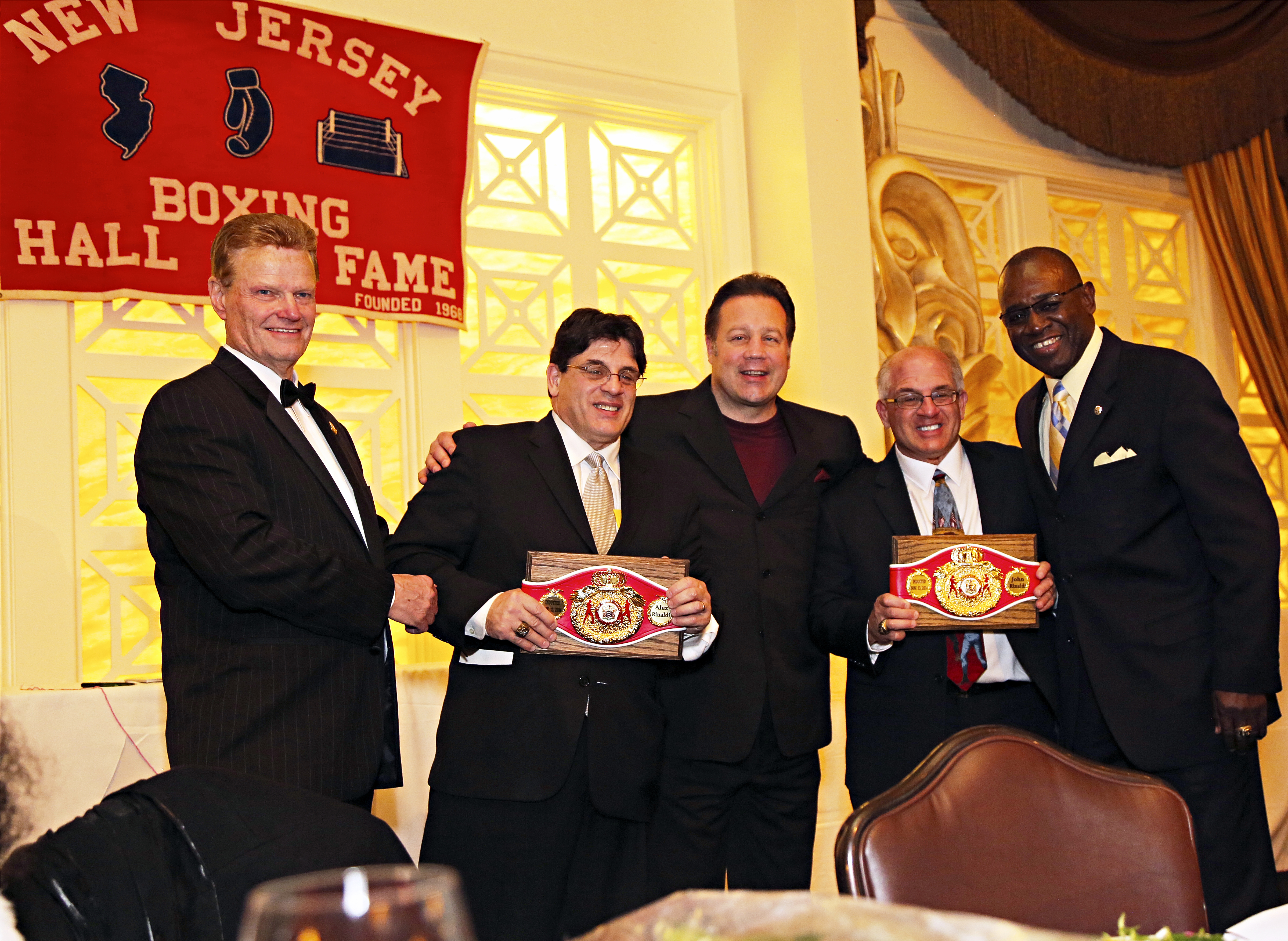 NJ Boxing Hall of Fame President Henry Hascup with Hall of Famers Alex and John Rinaldi along with two-time Champion Bobby Czyz and NJ Boxing Commissioner Larry Hazzard
