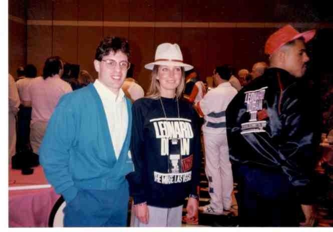 "Alex Rinaldi with ""10"" Actress Bo Derek following Sugar Ray Leonard's victory over Roberto Duran in 1989"