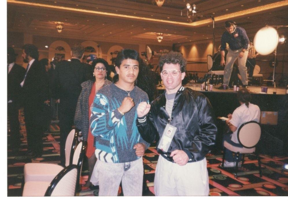 John Rinaldi with former WBO, IBF and WBC light flyweight king Michael Carbajal.