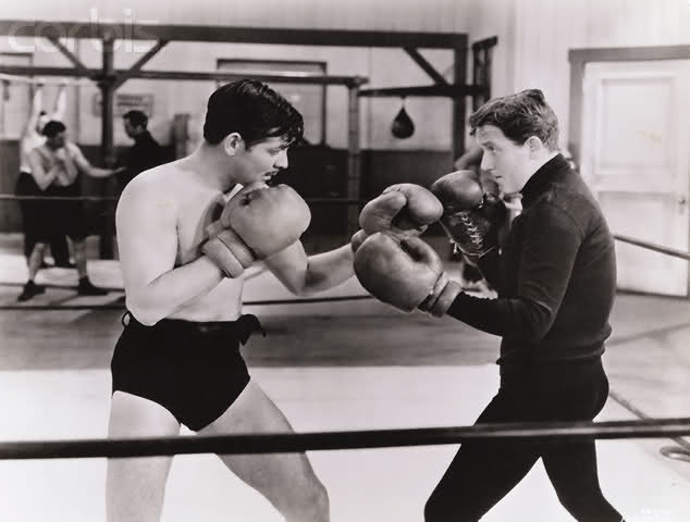 Actors Clark Gable and Spencer Tracy sparring