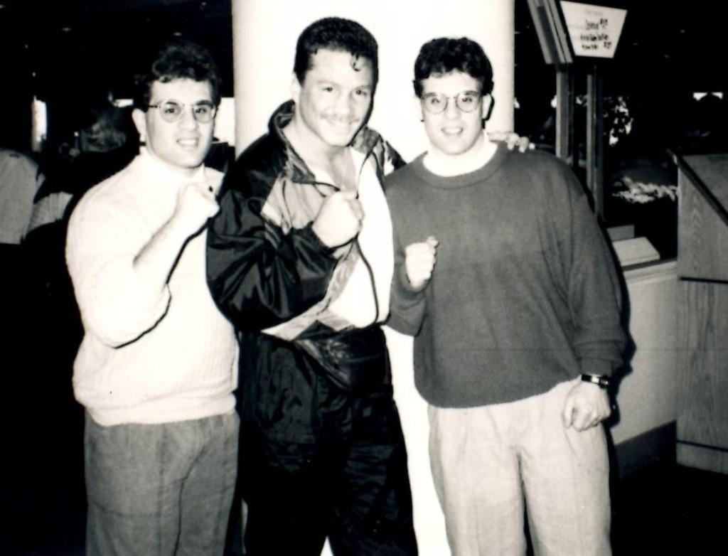 John and Alex Rinaldi with WBA jr. Middleweight champion Vinny Pazienza (C) *
