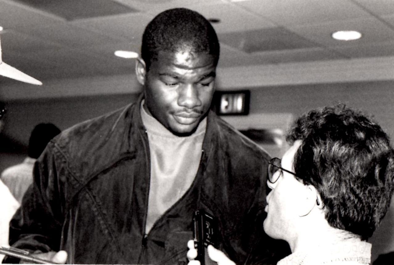 """John Rinaldi Interviewing Heavyweight Champion Riddick """"Big DaddY"""" Bowe *(PHOTO BY ALEX RINALDI)"""