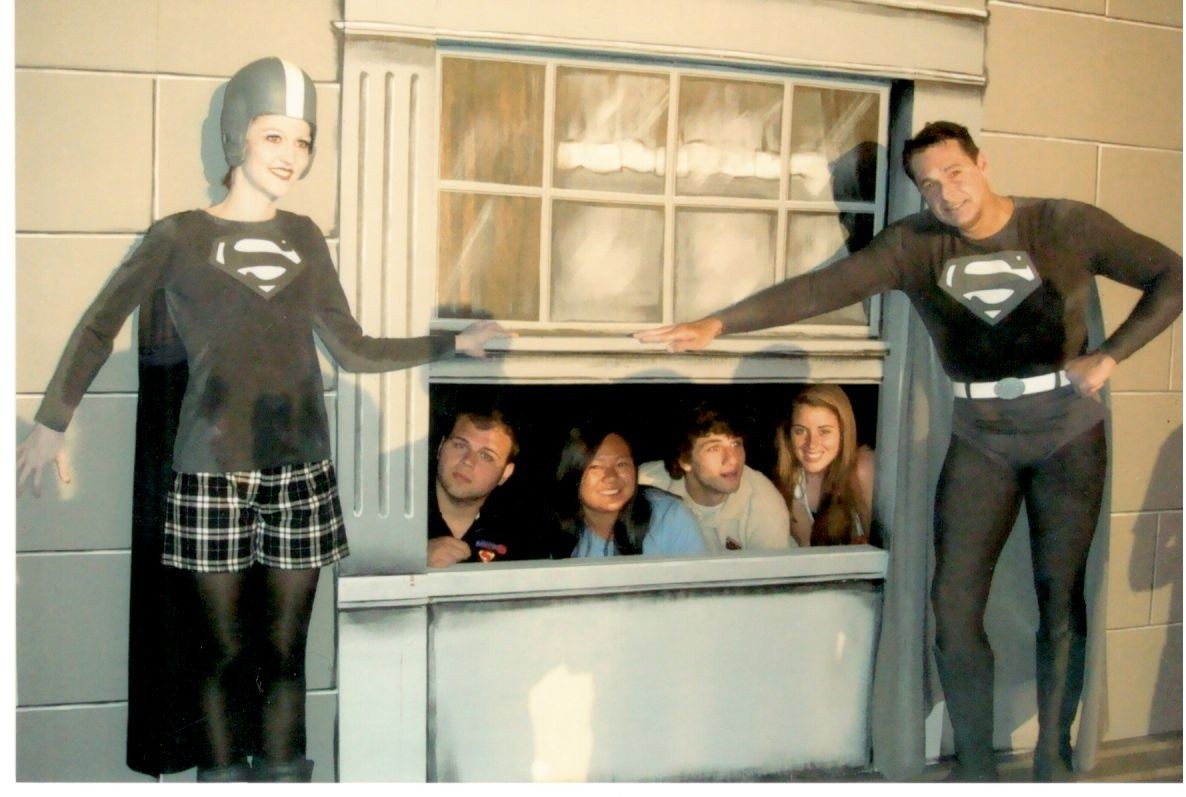 """Keith """"Superman"""" Howard with fans after his performance of Lucy and Superman"""