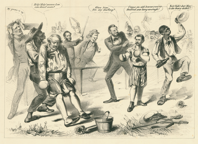 USABNWEBNOVGeorge McClellan boxing with Robert E. Lee - Cartoon Celebrating the Union Victory at Antietam