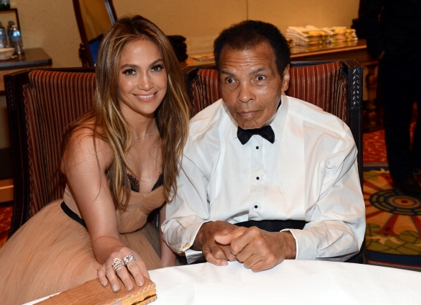 Jennifer Lopez with Muhammad Ali.
