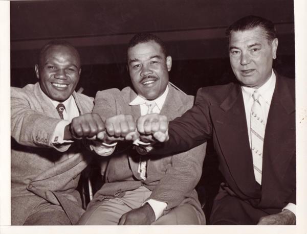 Jersey Joe Walcott, Joe Louis and Jack Dempsey.