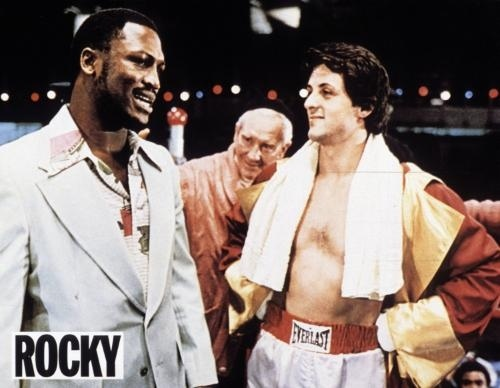 Joe Frazier, Burgess Meredith and Sylvester Stallone on Rocky set.