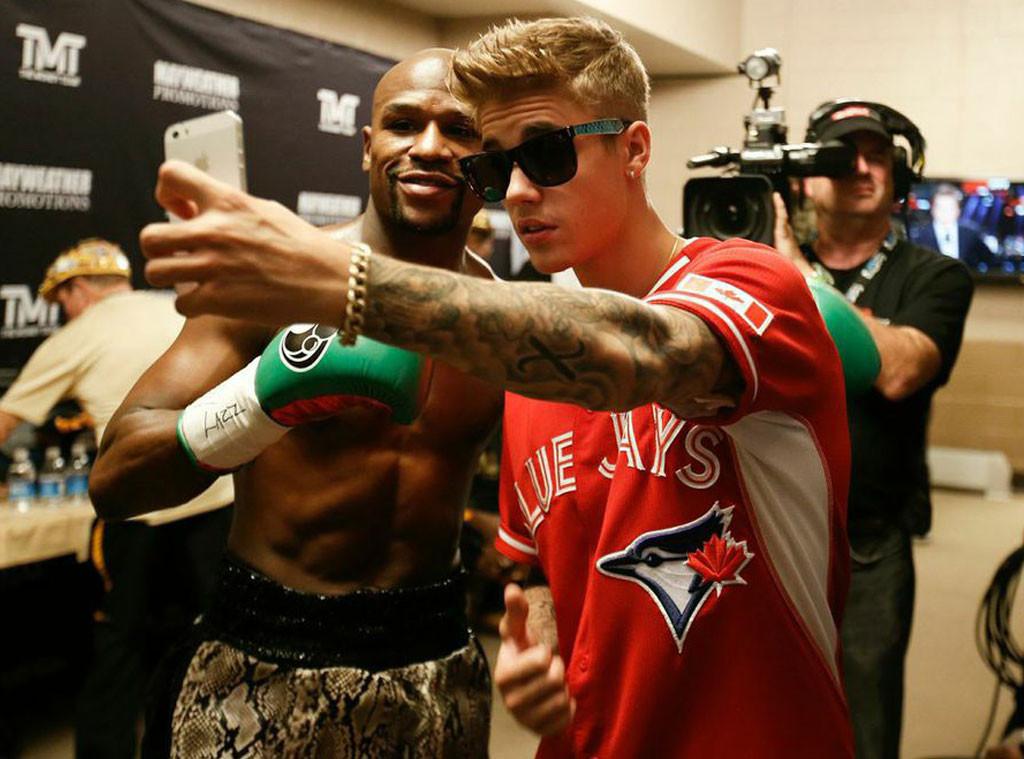 Justin Bieber with Floyd Mayweather.