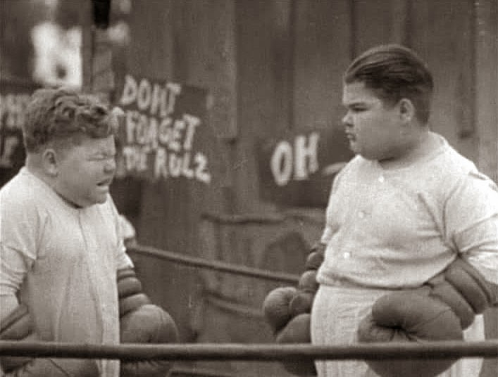 Chubby and Joe boxing in Our Gang short.