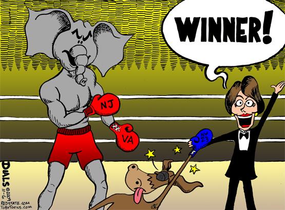 Cartoon political boxing cartoon 3.