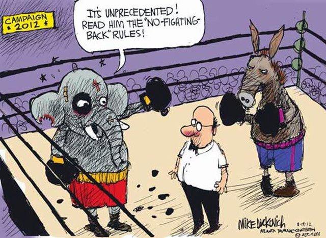 Cartoon political boxing cartoon 5