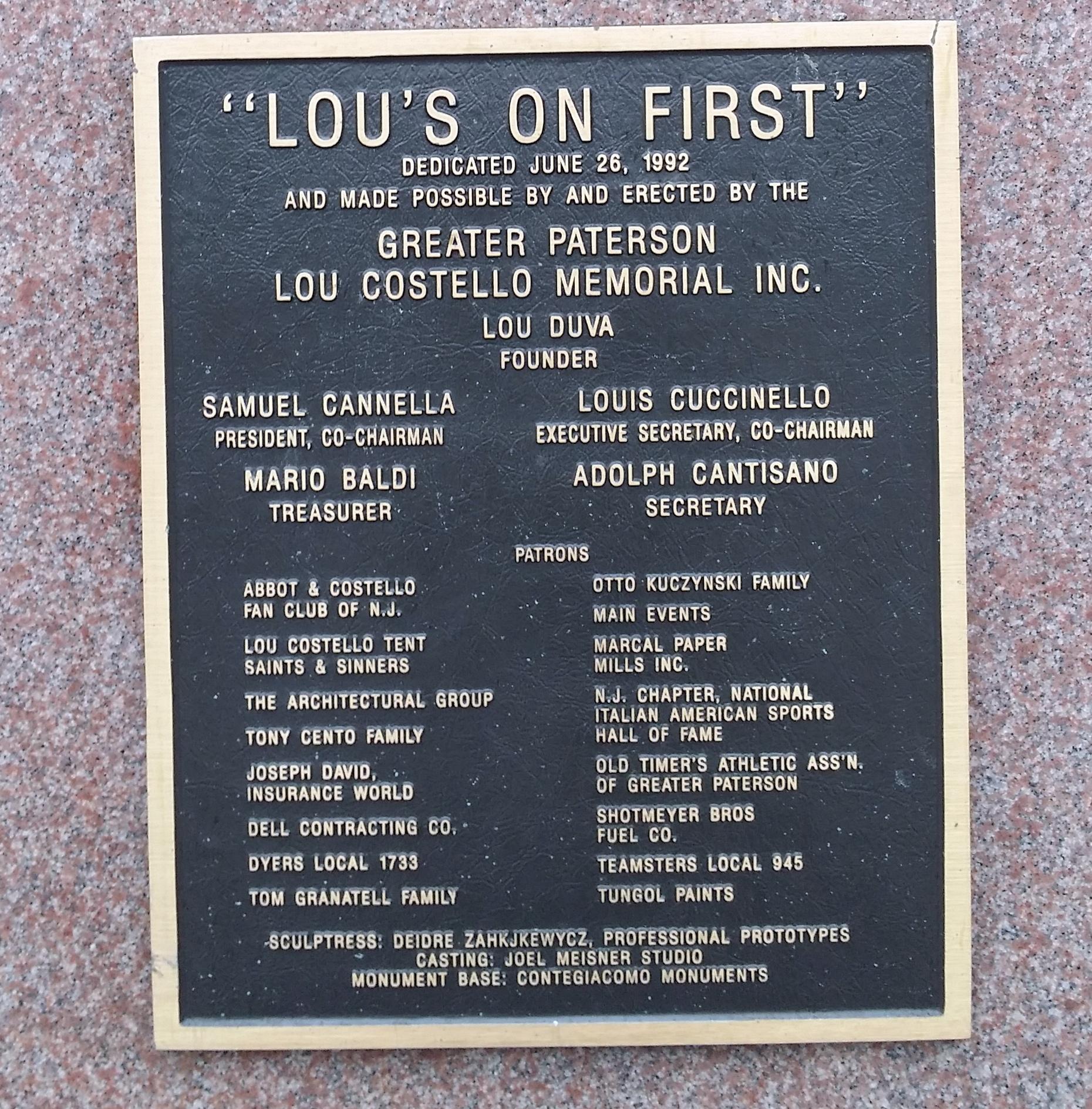 Lou Costello Statue foundation members (PHOTO BY ALEX RINALDI)