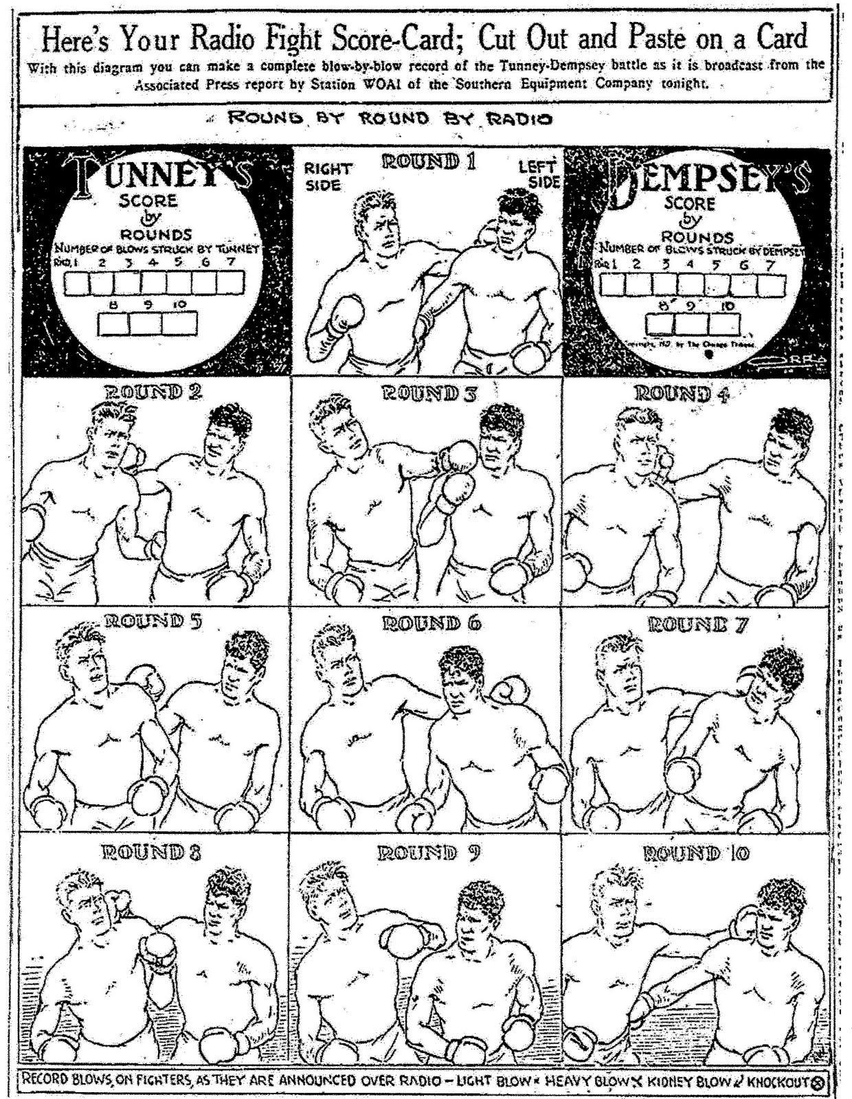 BN Dempsey-Tunney 2 fight scorecard cartoon.