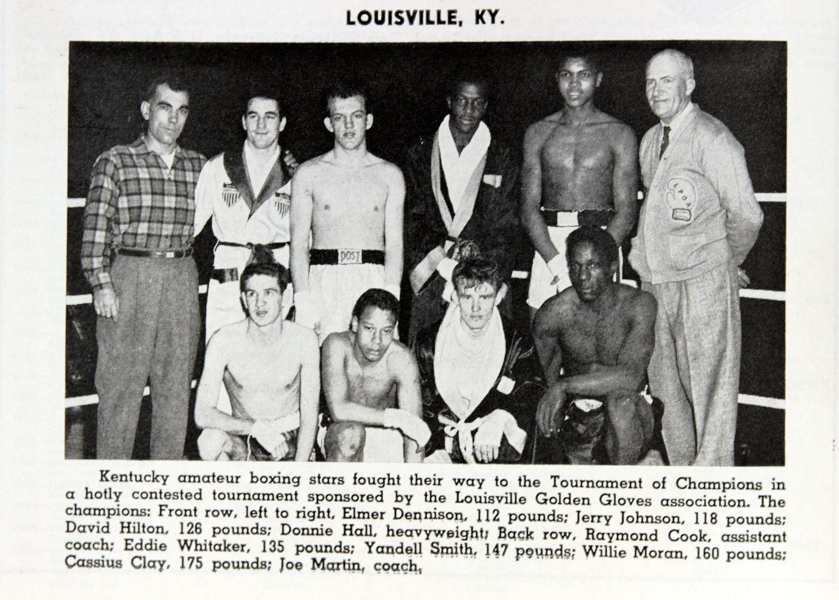Fight Program Photo of Louisville Golden Gloves with young Cassius Clay.