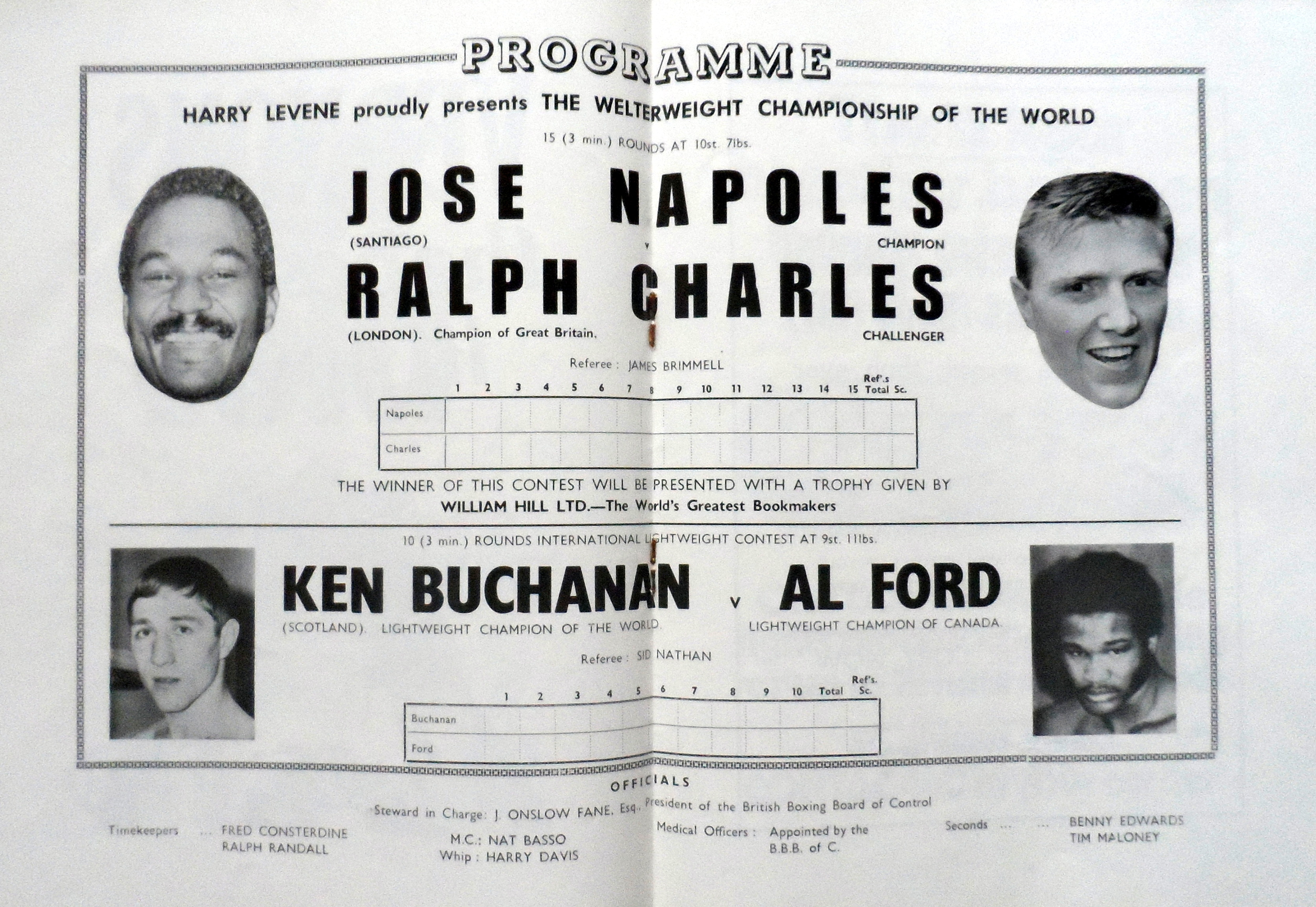 Fight Program Score Card - Napoles-Charles and Buchanan-Ford 1972.