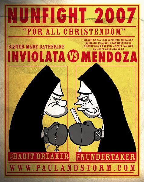 Boxing Cartoon Posters - Nunfight
