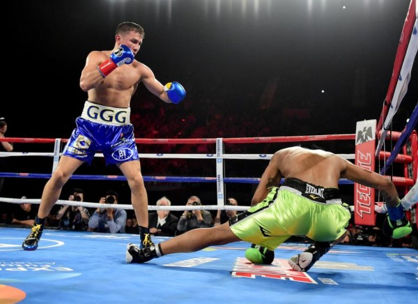 INGLEWOOD, CA - APRIL 23: Gennady Golovkin of Kazakhstan knocks down Dominc Wade for the second time on way to a second round TKO during his unified middleweight title fight at The Forum on April 23, 2016 in Inglewood, California. (Photo by Harry How/Getty Images)